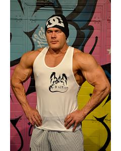 HC GYM Athletic Rib Tank, white, Spordiriided, T-särgid meestele, HC GYM spordivarustus